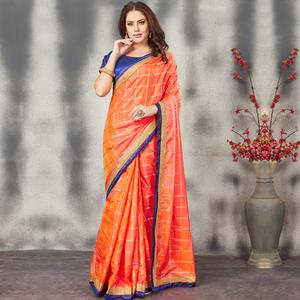 Blooming Orange Colored Partywear Printed Silk Saree