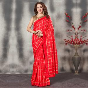Marvellous Red Colored Partywear Printed Silk Saree