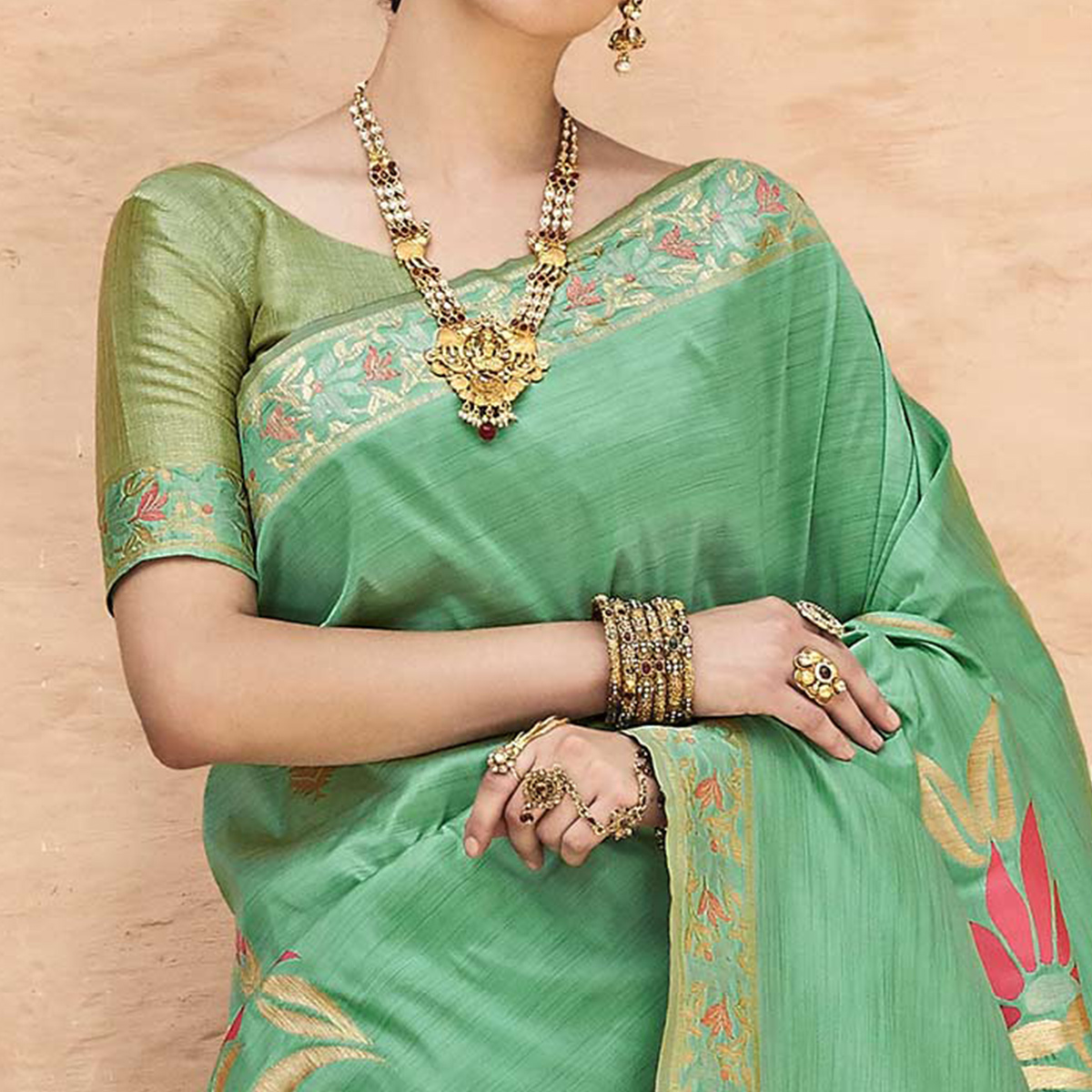 Jazzy Green Colored Festive Wear Silk Blend Saree