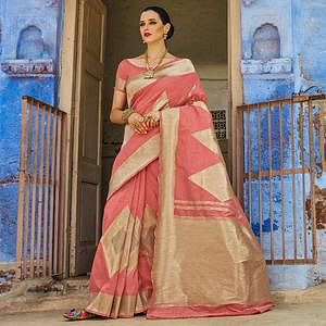 Appealing Pink Colored Festive Wear Silk Blend Saree