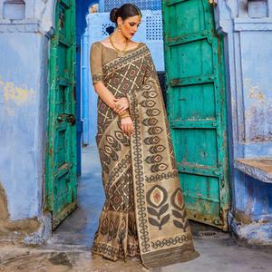 Groovy Brown Colored Festive Wear Silk Blend Saree