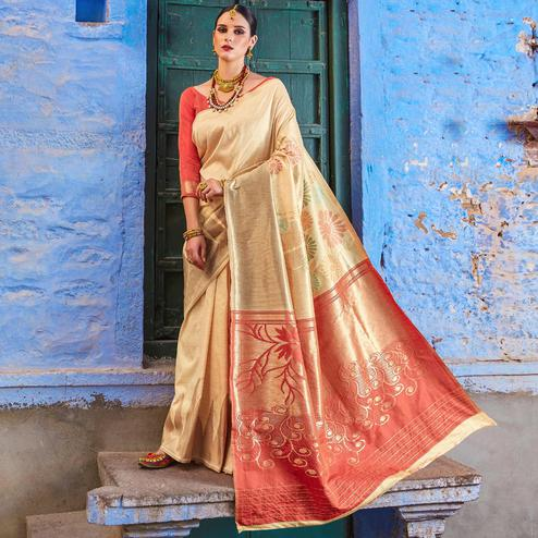 Prominent Beige Colored Festive Wear Silk Blend Saree