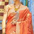Adorning Orange Colored Festive Wear Silk Blend Saree