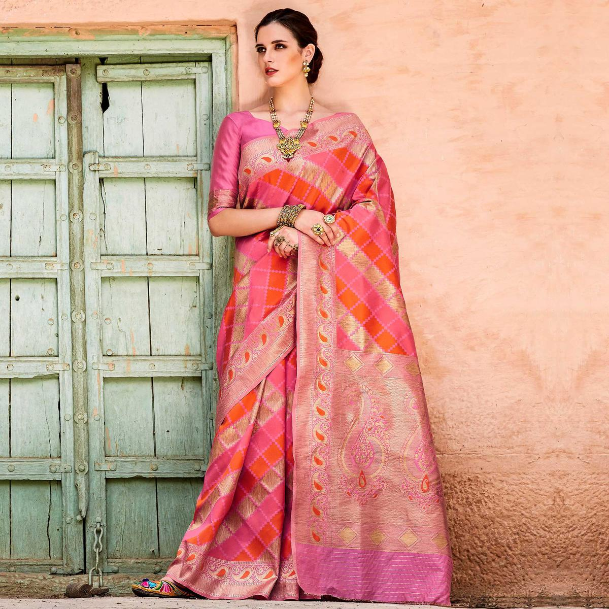 Flirty Pink Colored Festive Wear Silk Blend Saree