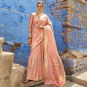 Alluring Pastel Pink Colored Festive Wear Silk Blend Saree