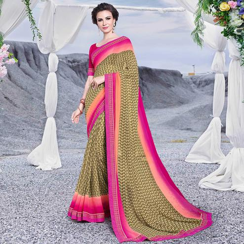 Pretty Olive Green Colored Casual Printed Georgette Saree