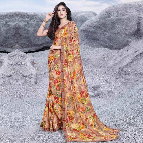 Charming Mauve Colored Casual Printed Georgette Saree