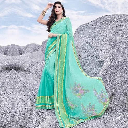 Delightful Aqua Green Colored Casual Printed Georgette Saree
