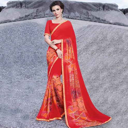 Stunning Red Colored Casual Printed Georgette Saree