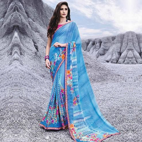 Blooming Sky Blue Colored Casual Printed Georgette Saree