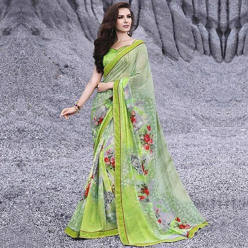 Marvellous Green Colored Casual Printed Georgette Saree