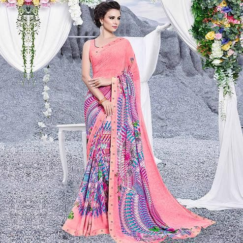 Mesmerising Pink Colored Casual Printed Georgette Saree