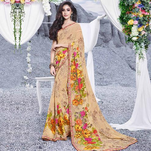 Ravishing Beige Colored Casual Printed Georgette Saree