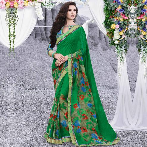 Eye-catching Green Colored Casual Printed Georgette Saree