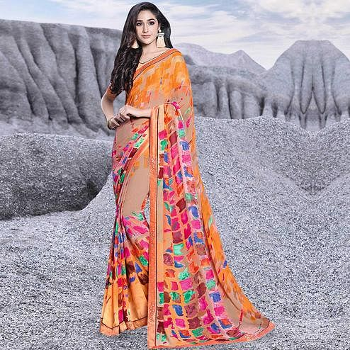 Amazing Orange Colored Casual Printed Georgette Saree