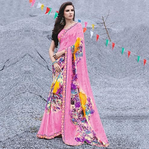 Majesty Pink Colored Casual Printed Georgette Saree