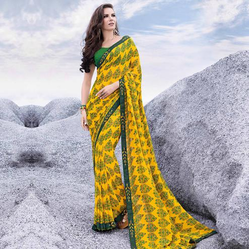 Preferable Yellow Colored Casual Printed Georgette Saree