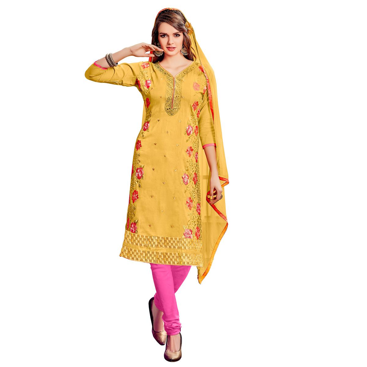 Blissful Yellow Colored Party Wear Embroidered Cotton Dress Material