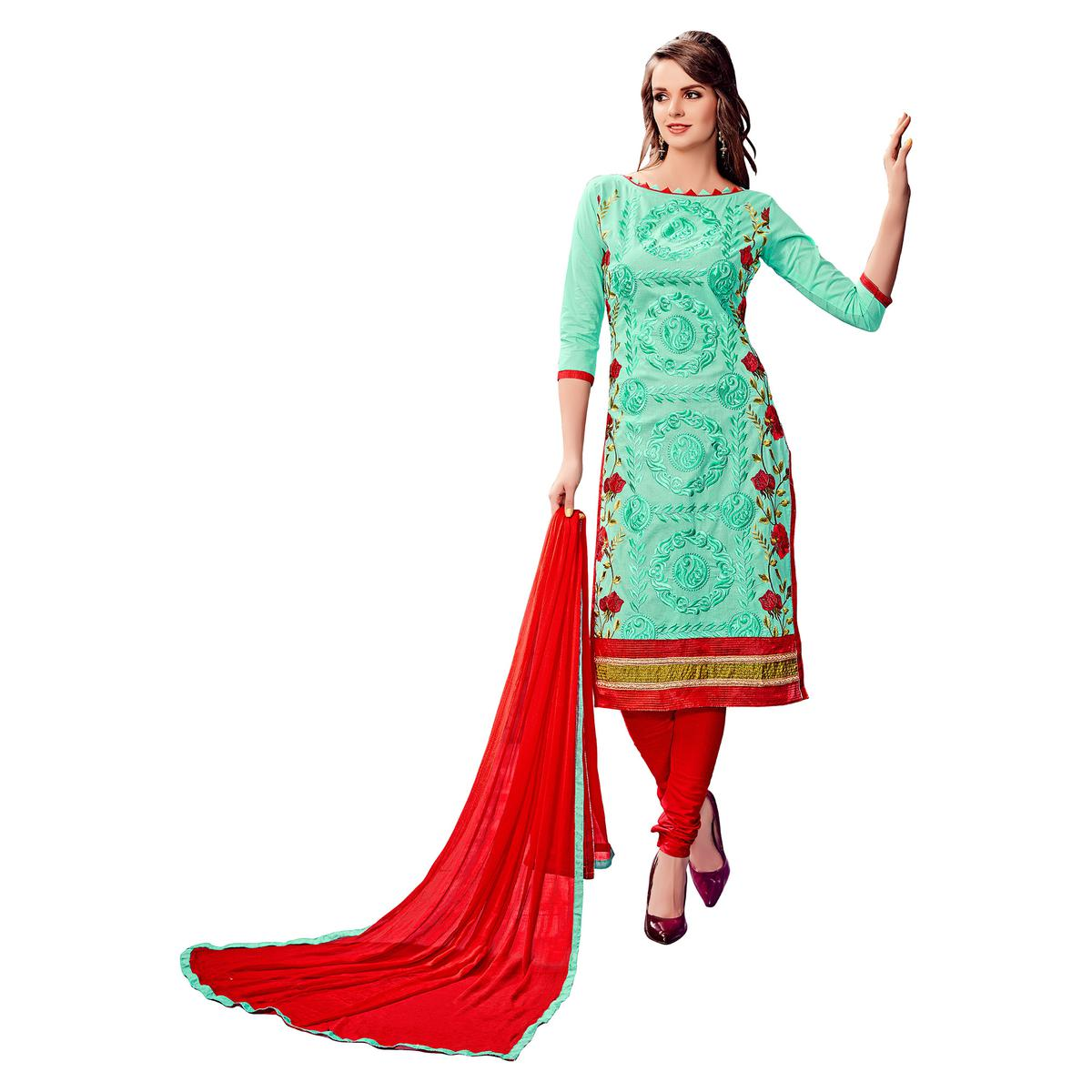 Ideal Aqua Blue Colored Party Wear Embroidered Cotton Dress Material