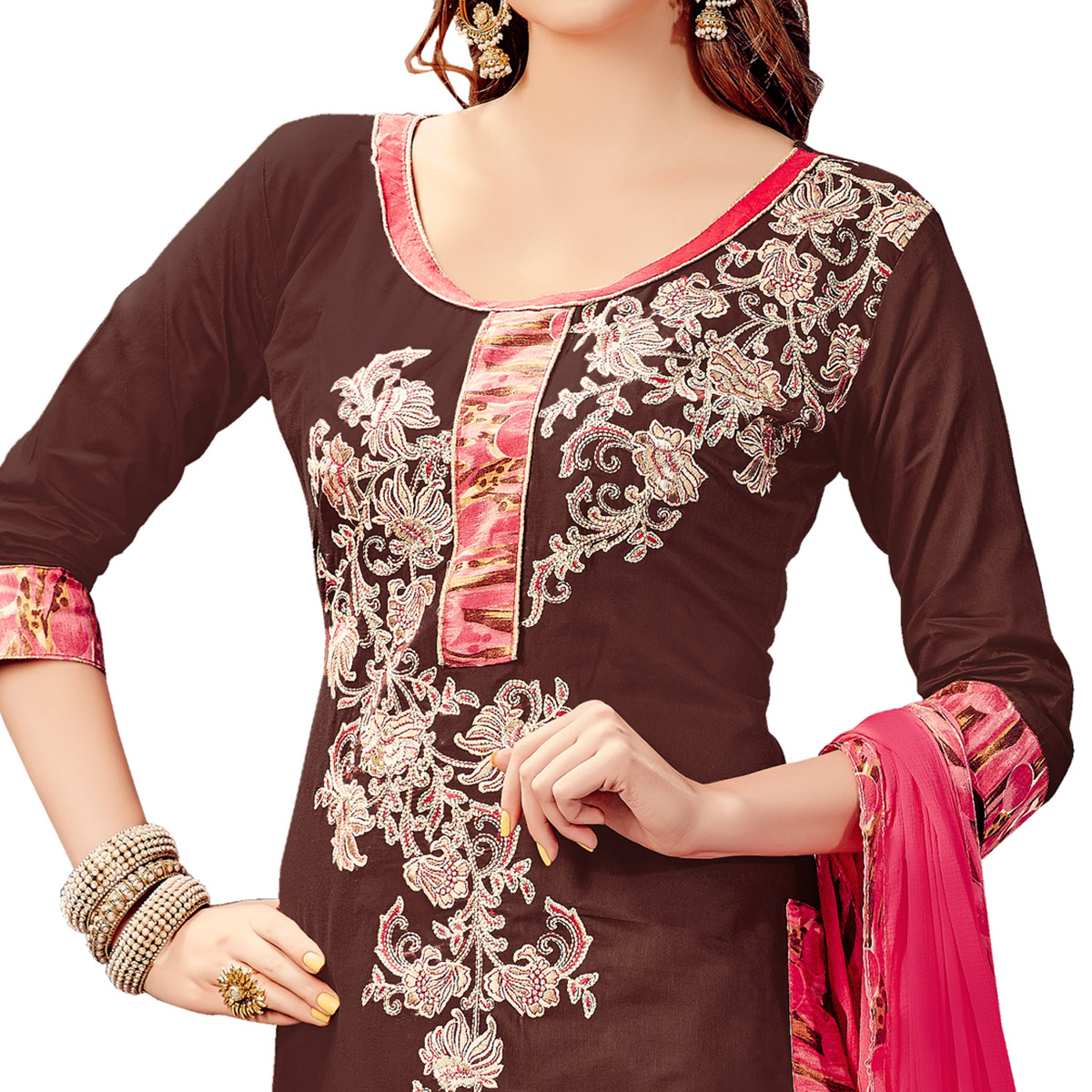 Engrossing Brown Colored Party Wear Embroidered Cotton Dress Material