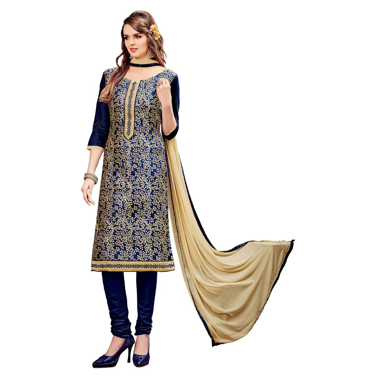 Fantastic Dark Blue Colored Party Wear Embroidered Cotton Dress Material
