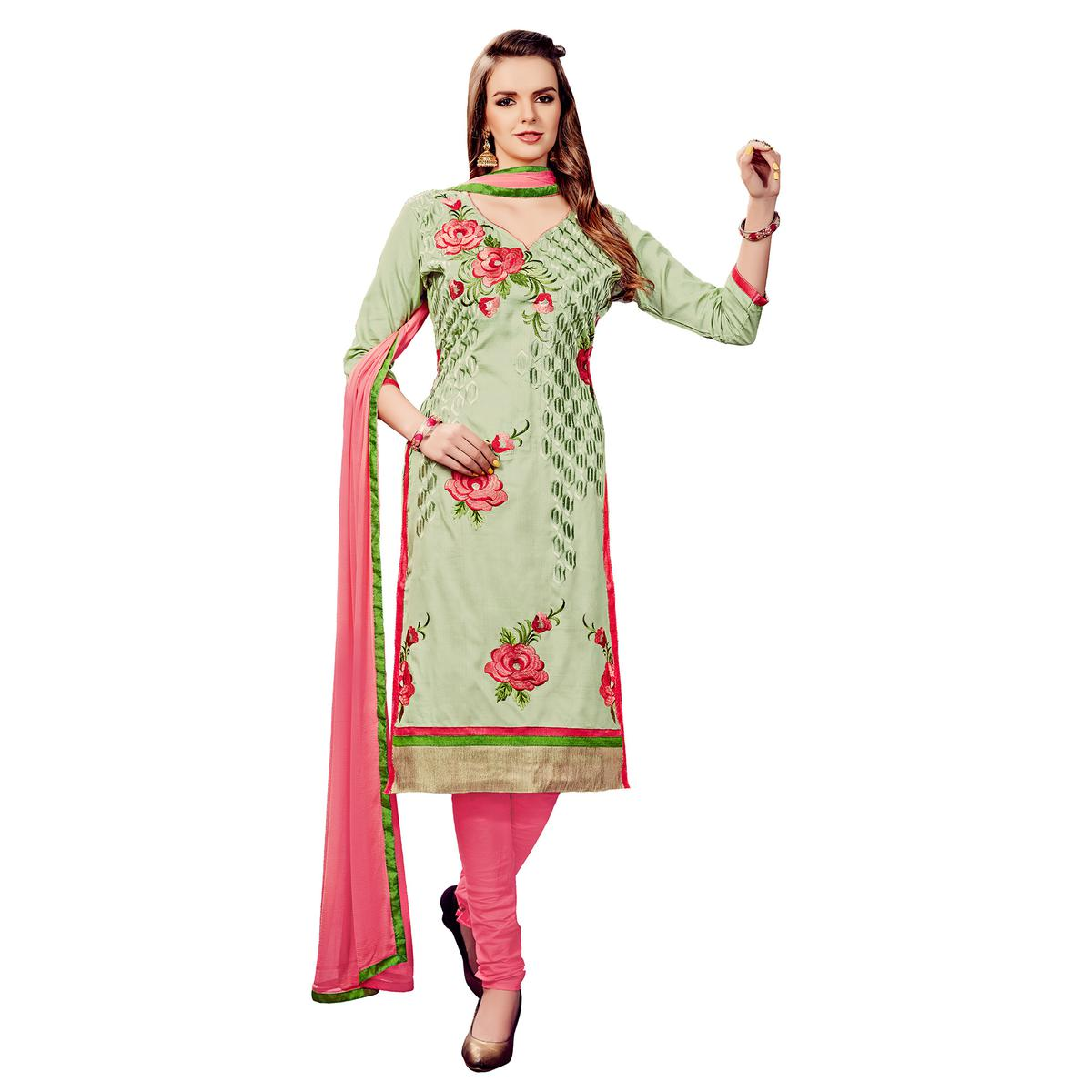 Staring Pastel Green Colored Party Wear Embroidered Cotton Dress Material