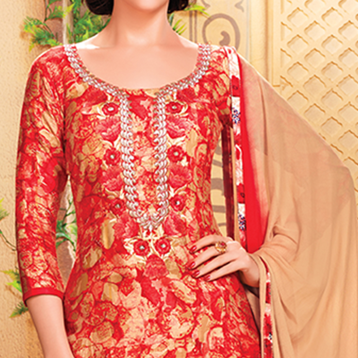Unique Red Colored Party Wear Embroidered Cotton Dress Material