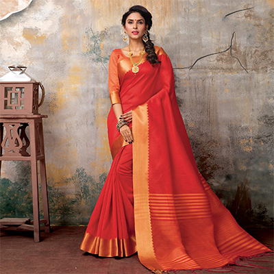Stunning Red Festive Wear Woven Sambalpuri Saree