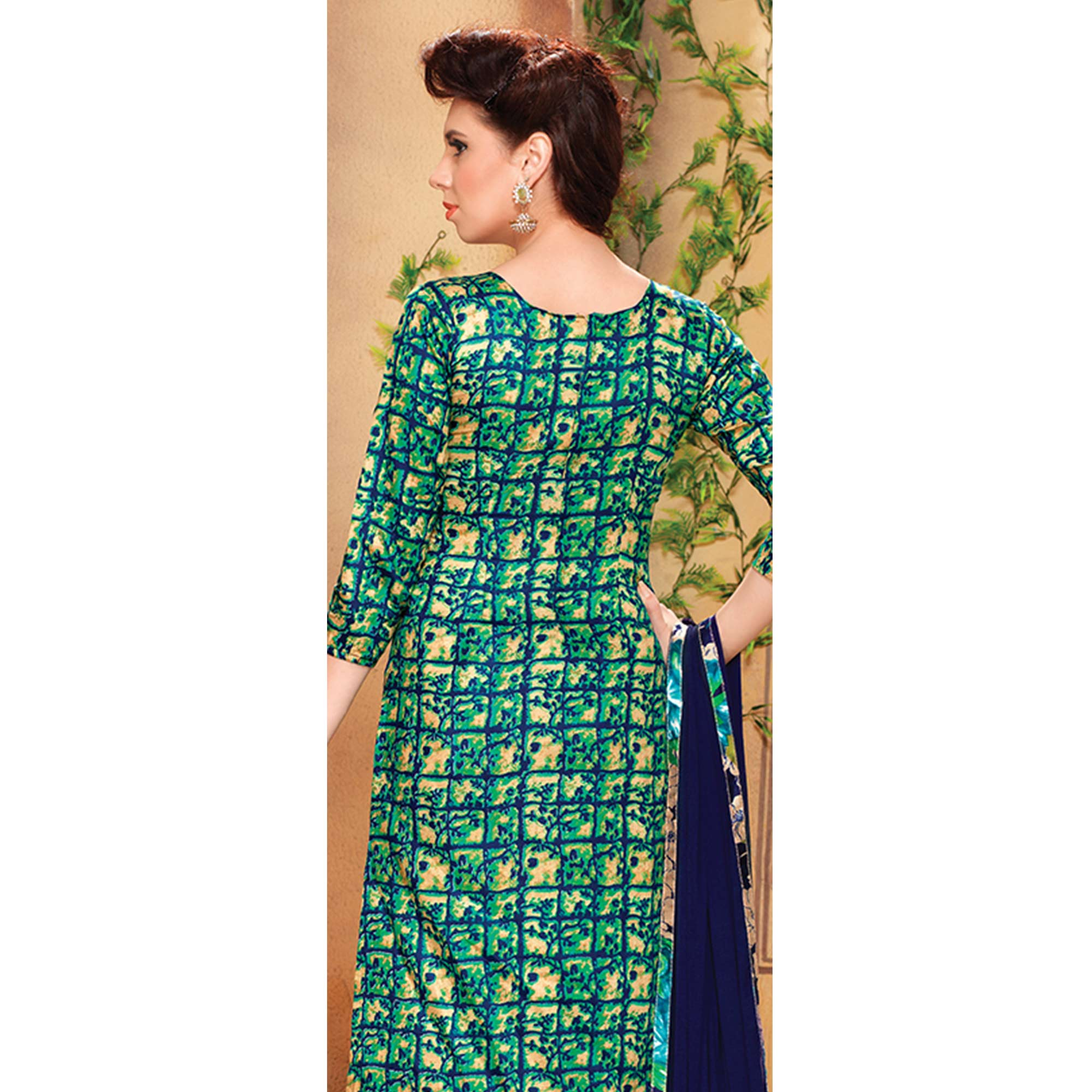 Sensational Green Colored Party Wear Embroidered Cotton Dress Material