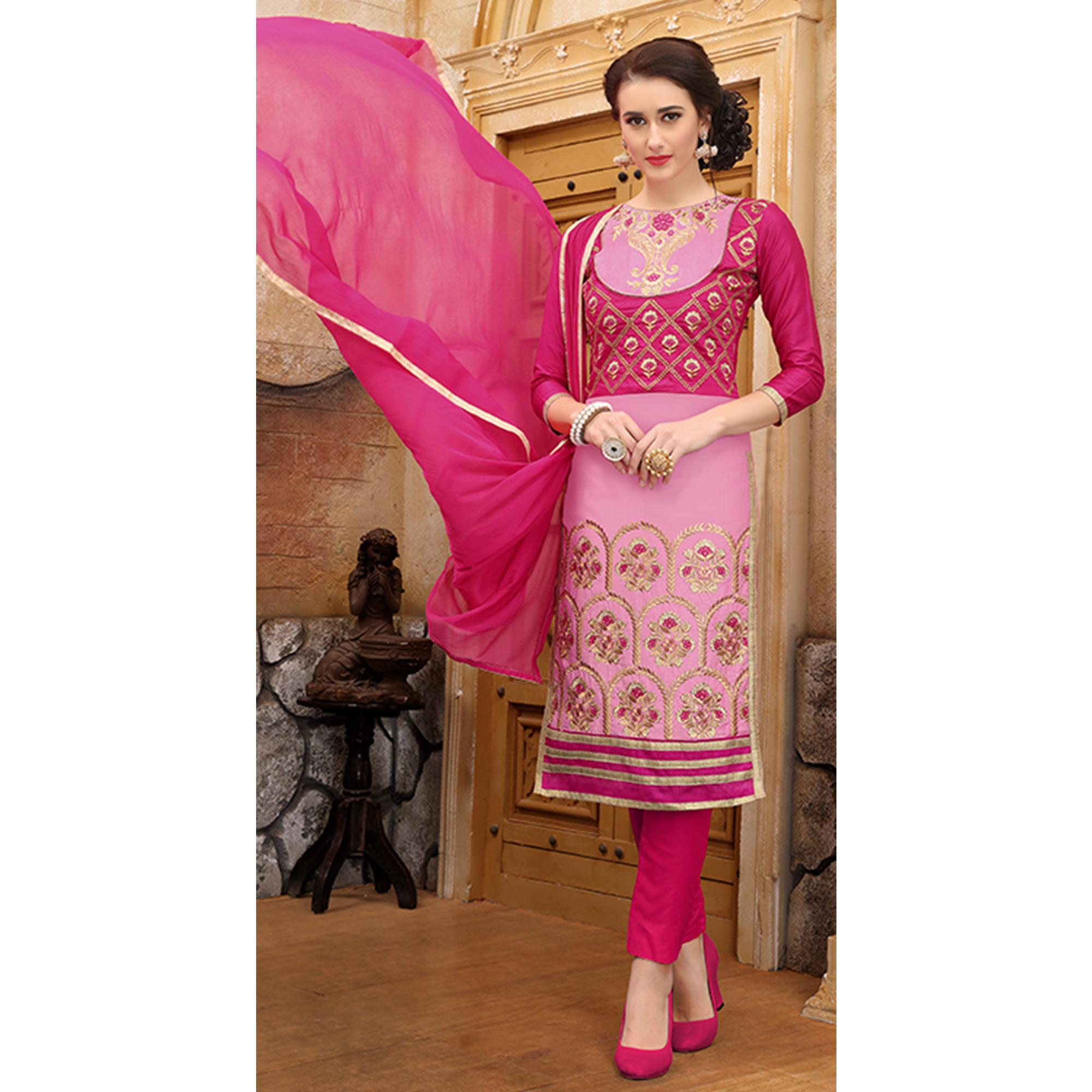 Beautiful Pink Colored Party Wear Embroidered Cotton Dress Material