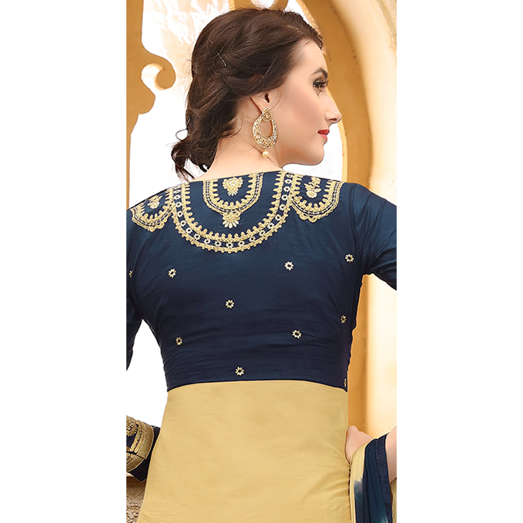 Cool Navy Blue & Cream Colored Party Wear Embroidered Cotton Dress Material