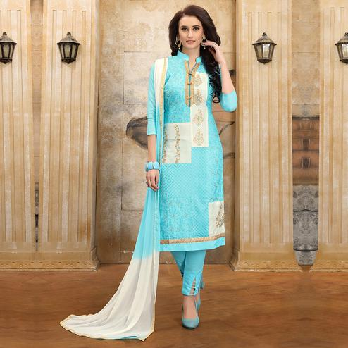 Stylish Sky Blue Colored Party Wear Embroidered Cotton Dress Material