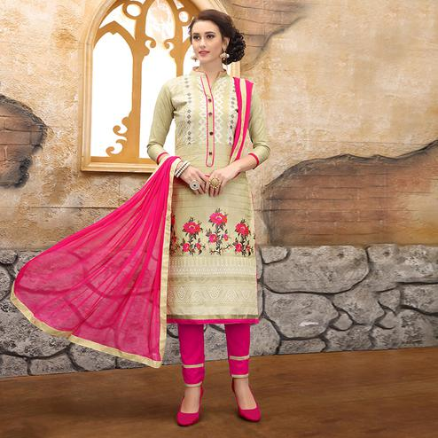 Classy Cream Colored Party Wear Embroidered Cotton Dress Material