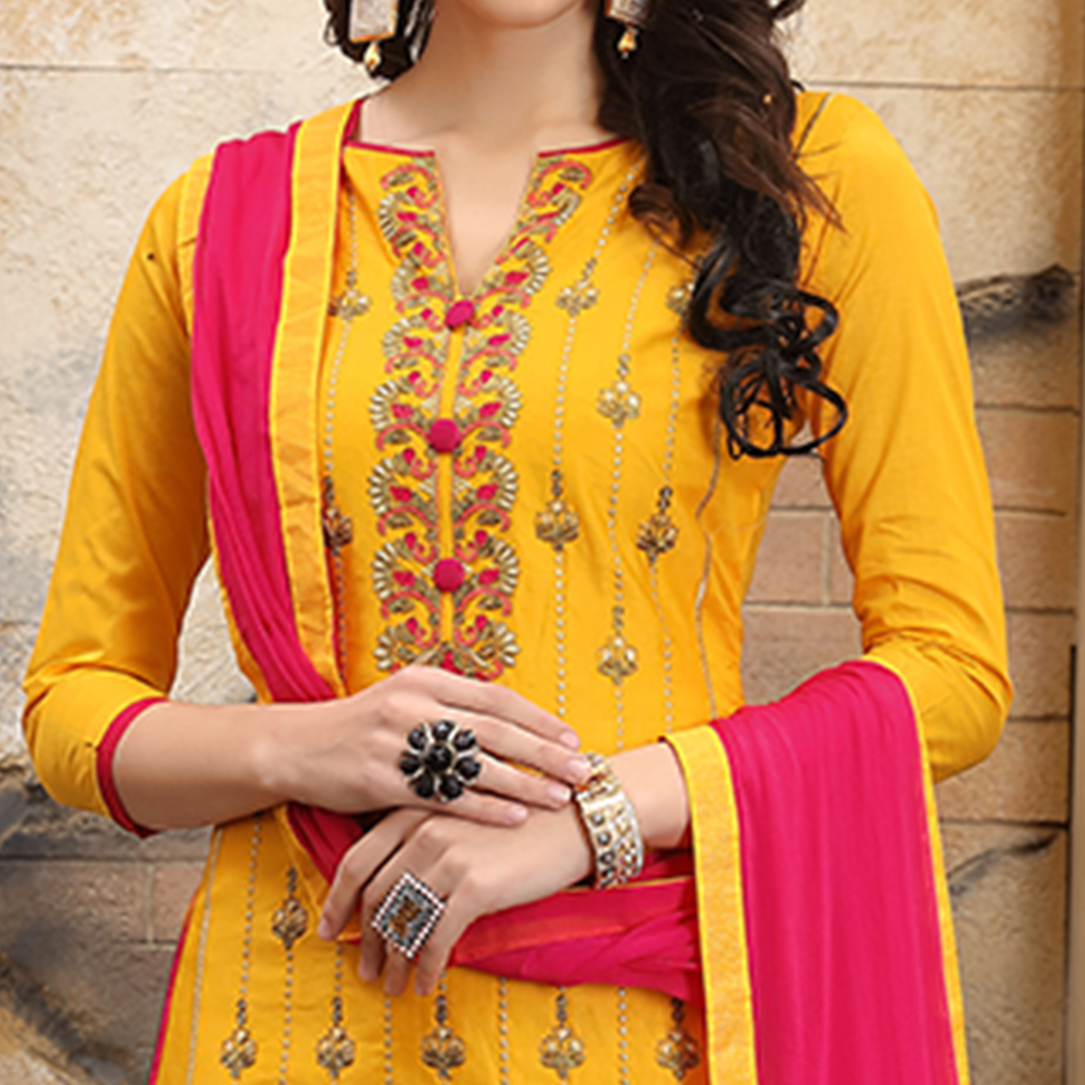 Alluring Yellow Colored Party Wear Embroidered Cotton Dress Material