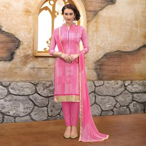 Charming Pink Colored Party Wear Embroidered Cotton Dress Material