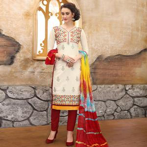 Trendy Off-White Colored Party Wear Embroidered Cotton Dress Material