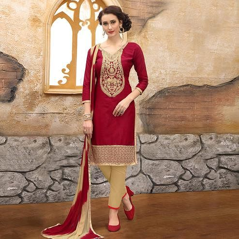 Marvellous Maroon Colored Party Wear Embroidered Cotton Dress Material