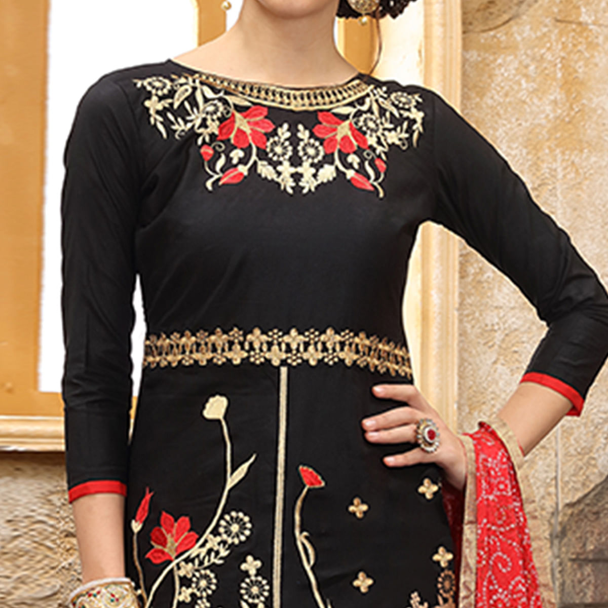 Arresting Black Colored Party Wear Embroidered Cotton Dress Material