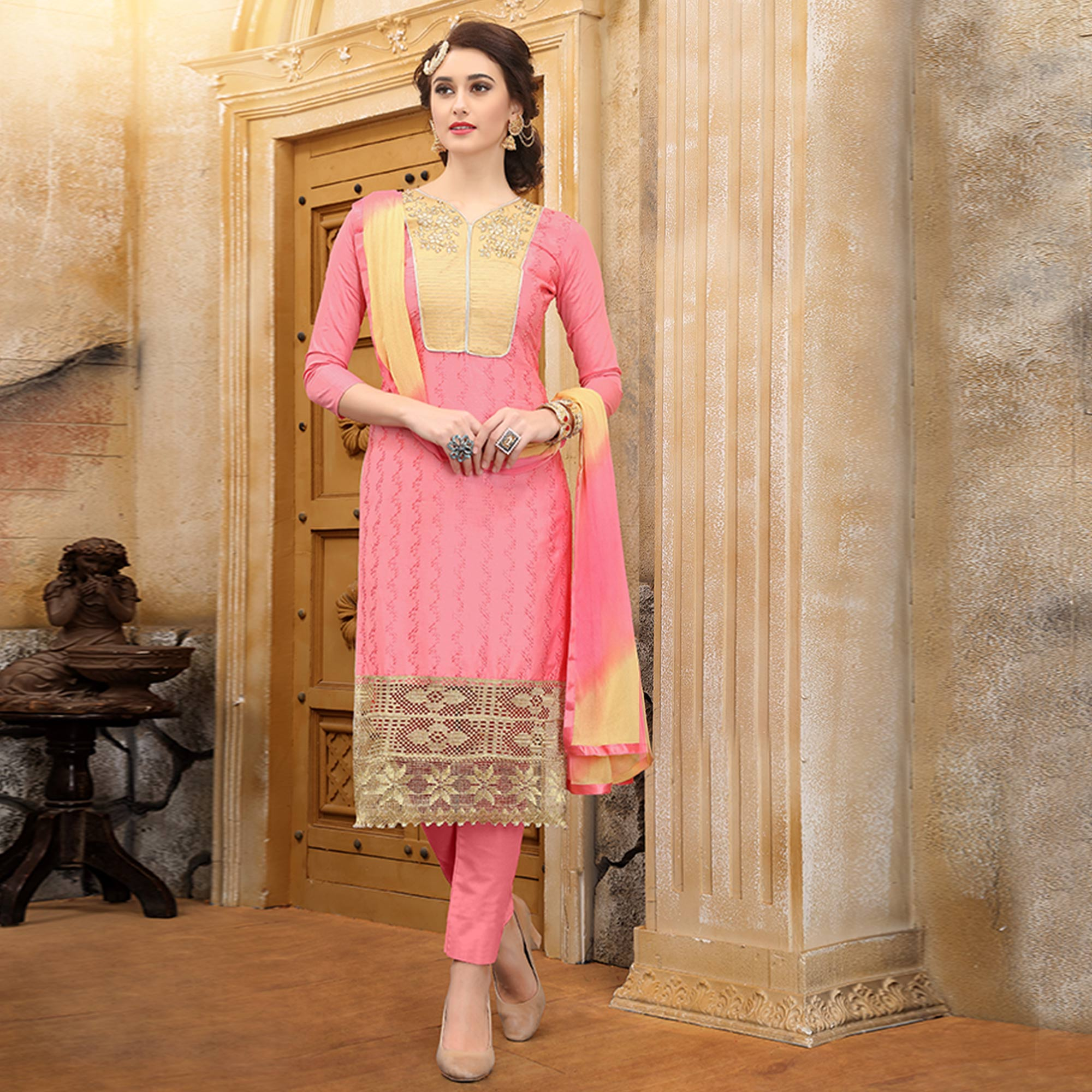 Glorious Pink Colored Party Wear Embroidered Cotton Dress Material