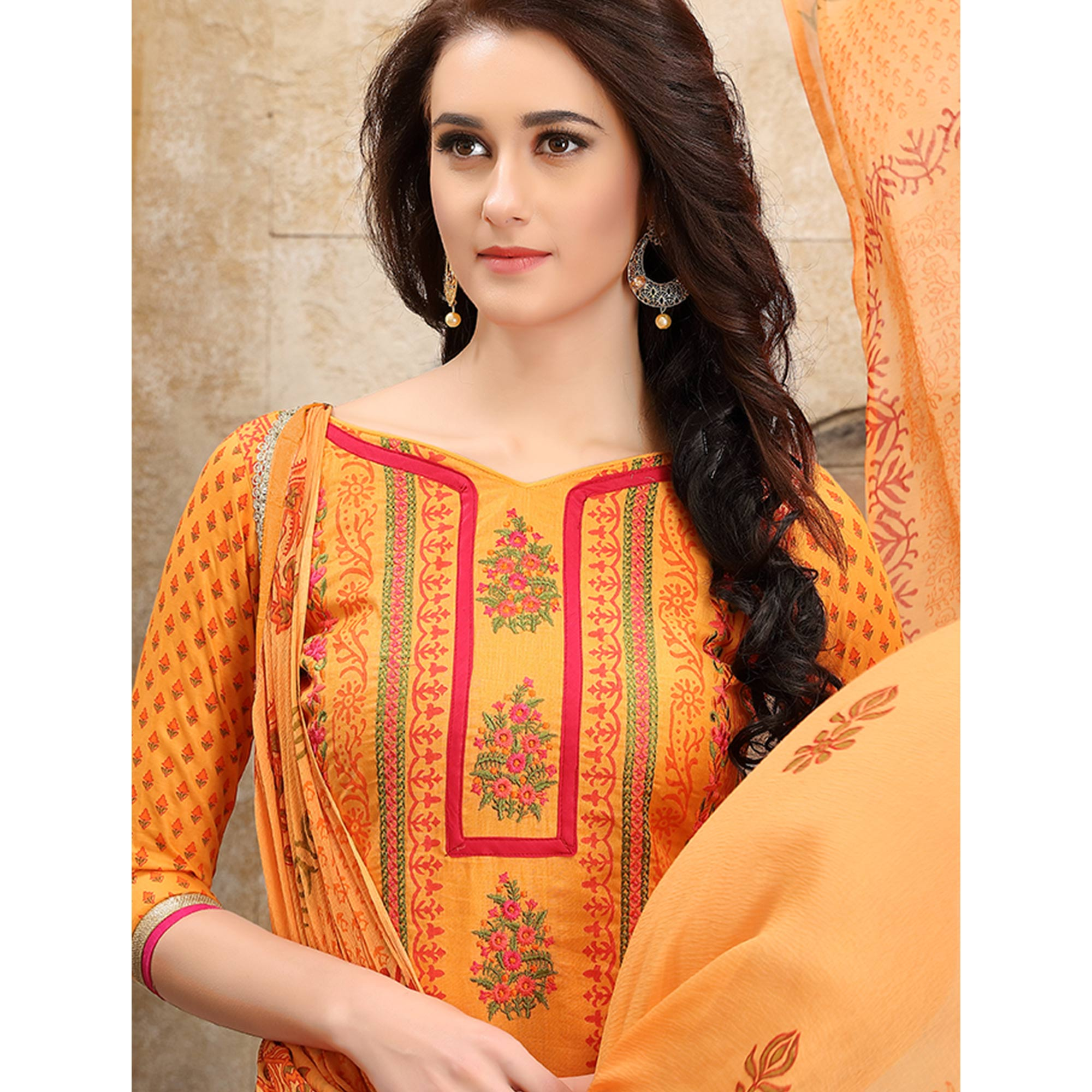 Graceful Orange Colored Party Wear Embroidered Cotton Dress Material