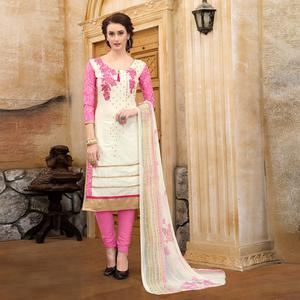 Pretty White & Pink Colored Party Wear Embroidered Cotton Dress Material