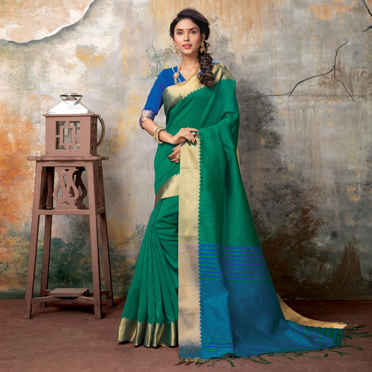 Delightful Bottle Green Festive Wear Woven Sambalpuri Saree