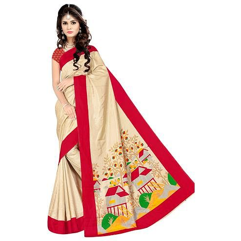 Blooming Beige Colored Casual Wear Printed Malgudi Silk Saree