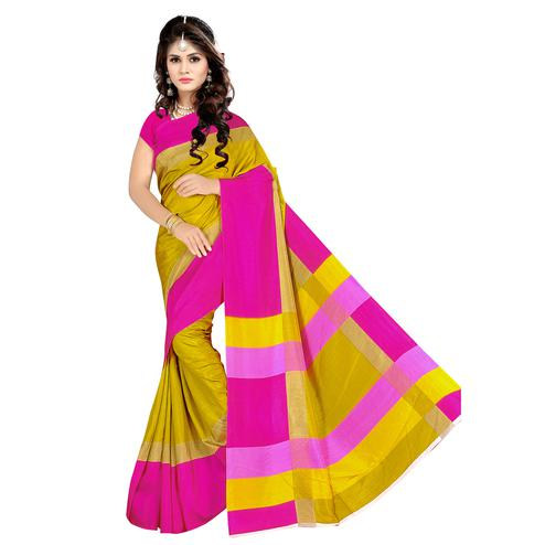 Marvellous Yellow Colored Casual Wear Printed Malgudi Silk Saree