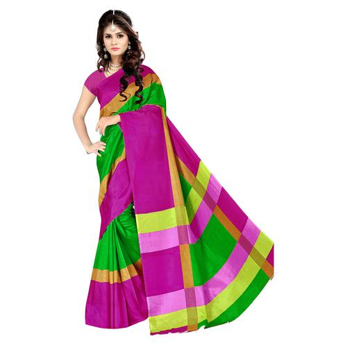 Mesmerising Green Colored Casual Wear Printed Malgudi Silk Saree