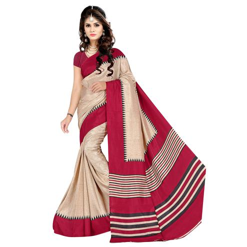 Ravishing Cream Colored Casual Wear Printed Malgudi Silk Saree