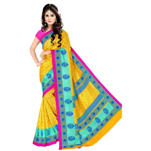 Eye-catching Yellow Colored Casual Wear Printed Malgudi Silk Saree