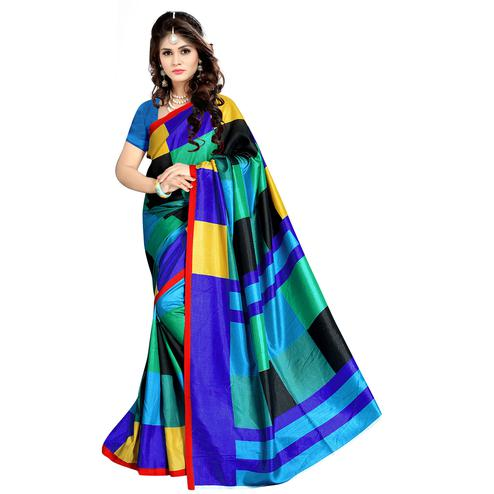 Exotic Multi Colored Casual Wear Printed Malgudi Silk Saree