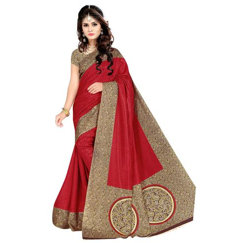 Majesty Red Colored Casual Wear Printed Malgudi Silk Saree