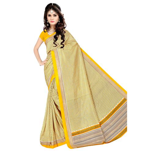 Attractive Light Yellow Colored Casual Wear Printed Malgudi Silk Saree